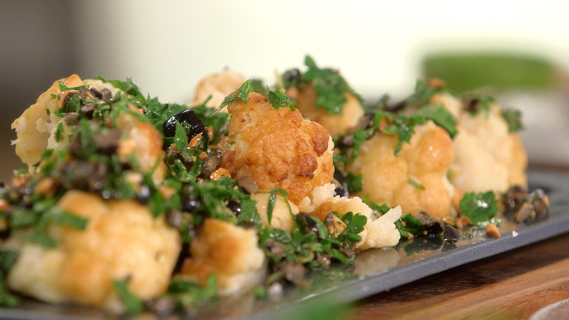 Ma recette de chou,fleur grillé aux olives